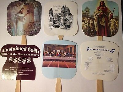 Vintage Church Hand Paper Cardboard Fan w/Wooden Handle 6 Choices to Choose From