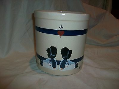 Vintage RRP Co Pottery Crock Blue Stripe Hand Painted Colleen Heart Kids #303 F