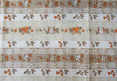 Orange & White Bouquet Floral Vintage Fabric Material RETRO CHIC 3 Yards of Fun!