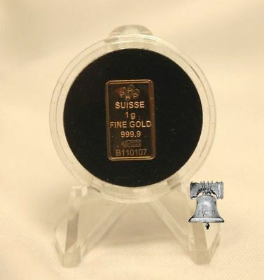TCD Black Coin Holder Capsule Case 1 Gram Silver Gold Bar & Clear Display Stand