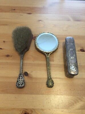 Vintage Hand Mirror And 2 Brushes; Old Vanity Items; Collectable; Decorative