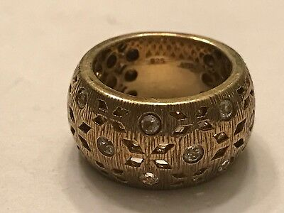 Beautiful Gold over STERLING Silver w/ CZs Wide Cigar Band Thick Fancy Ring Sz 5