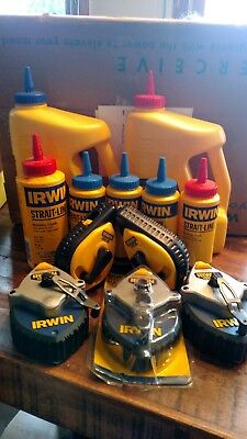 Lot of 5 NEW Irwin Chalk Lines and lots of chalk