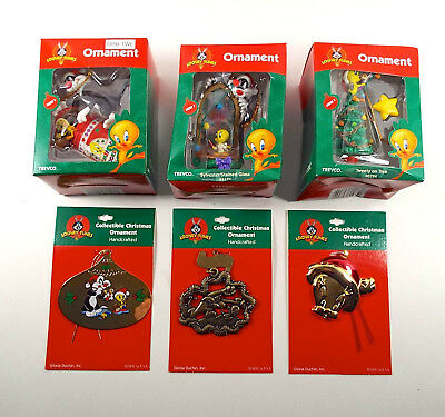 6 Vintage Looney Tunes Tweety Sylvester Ornaments Duchin Trevco New Old Stock