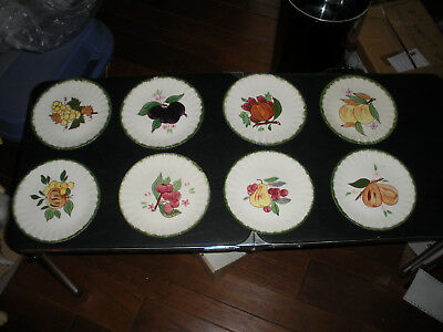 "Blue Ridge Pottery Hand Painted 8 1/2"" Plate Set of (8) Assorted Fruit Patterns"