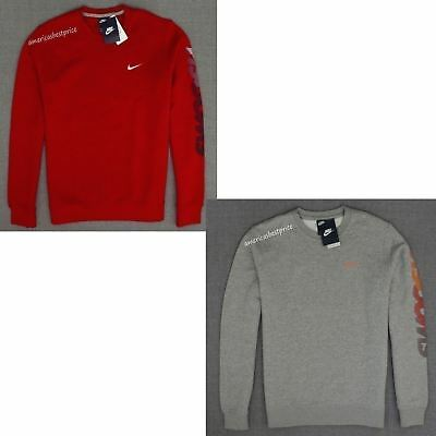 Nike New Mens Logo Crew Neck Sweatshirt,nwt,warm And Cozy,red And Gray,very Nice