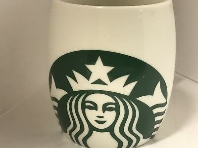 Starbucks 2010 White Barrel Shape Coffee Mug with Mermaid Logo Microwavable