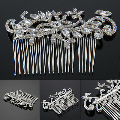 Fashion Bridal Wedding Crystal Rhinestones Diamante Hair Comb Clip Headband UK