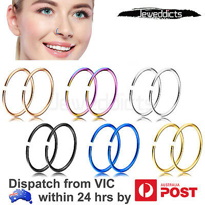 Nose Hoop Ring 24g Stainless Steel Piercing Tragus Earring Body Jewellery