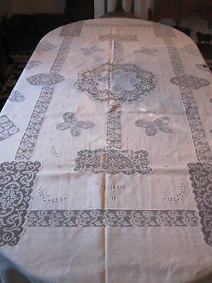 "cotton linen lace 109"" x 95"" tablecloth - my #153"