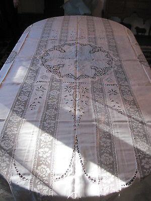 "linen lace 103"" x 84"" tablecloth - my #154"