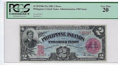 Rare! 1903 Philippines 2 Peso Note Pick 25A Philippine Islands Pcgs Vf 20