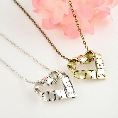 Fashion Alloy Love Measure Ruler Necklace Metal Pendant Unisex Jewelry Gift