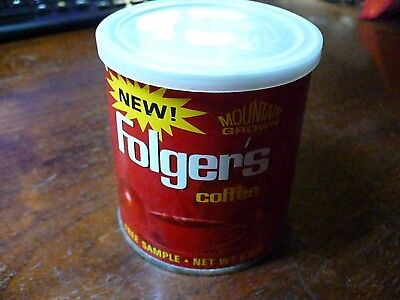 Vintage Folgers Coffee Can Free Sample Net Weight 6 ounces empty with the lid