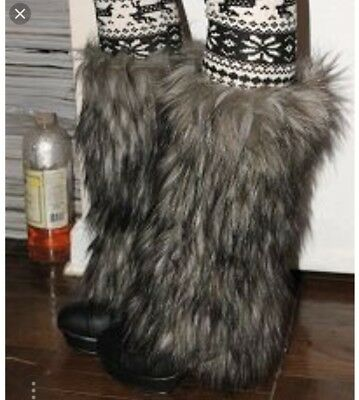 Furry Leg Warmers - Black White brown - Fluffies party dance tri color rave EDM