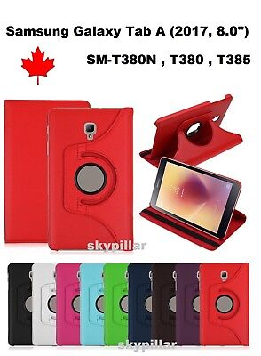 "For 360° Leather Stand Case Cover Samsung Galaxy Tab A 8"" (2017)  SM-T380 T385"