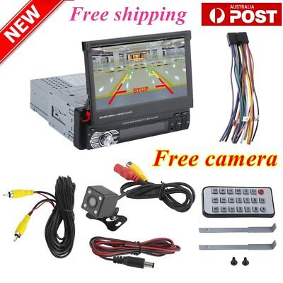 "7"" Single 1DIN Car GPS MP5 Player Radio Stereo Touch Head Unit Sat NAV+Camera FK"