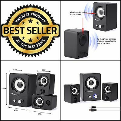 Laptop Desktop PC USB Computer Speakers Multimedia Stereo System Subwoofer Black