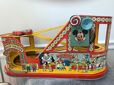 J Chein Roller Coaster tin litho vintage toy with cars & box