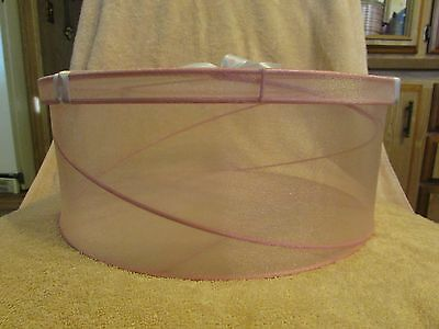 "Pink Mesh Fabric & Wire Hat Box 5"" tall x 11 1/2"" diameter"