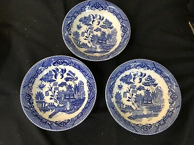 Bowls X 3 Cereal Or Dessert - Blue Willow Vintage - Made In Japan In Vg Cond.