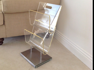 Rare Vintage Lucite Commercial Magazine Rack Chrome Stainless Steel MCM Office