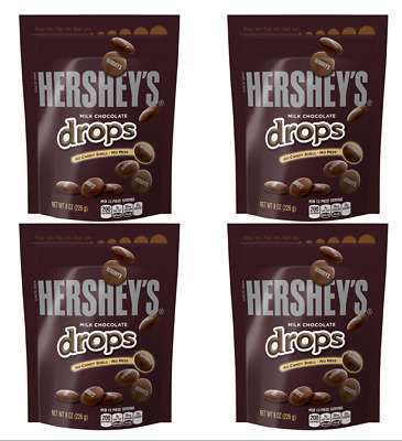 907909 4 x 226g BAGS OF HERSHEYS PURE MILK CHOCOLATE DROPS WITH NO CANDY SHELL