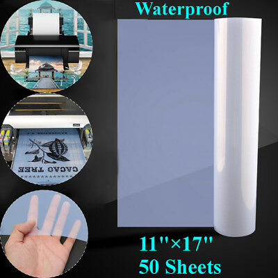 50 Sheets 11'' x 17'' Screen Printing Inkjet Transparency Film Paper Waterproof