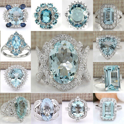 925 Sterling Silver Ring Large Aquamarine Cluster Sapphire Pave Crown Women Men