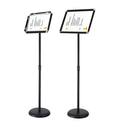 A3 Pedestal Sign Holder Floor Stand Adjustable with Telescoping Post Silver