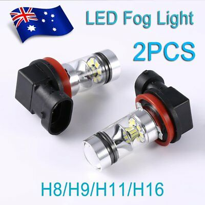2pcs H8 H9 H11 H16 6000K 100W 20 LED Fog Light Super Bulbs High Brightness FU