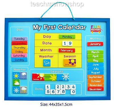 My First Calendar Wooden Educational Magnetic Days Months Weather Seasons Kids