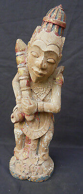Antique Museum Quality Balinese Hindu  Heavy Hard Wood Mythical Goddess Carving