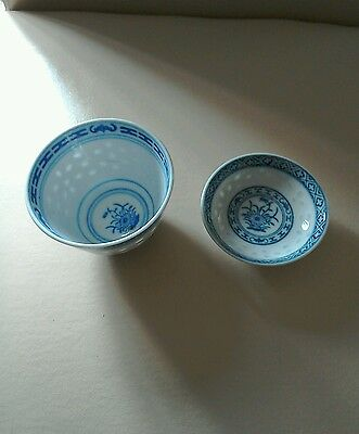 Two Vintage Chinese Oriental Blue And White Bowls