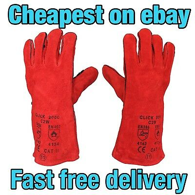 HEAVY DUTY  Welding Heat Resistant Leather Gloves Stove Wood Burner