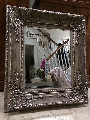 Large Antique French Style Bevelled Wall Mirror Carved Painted Grey Repro Rococo