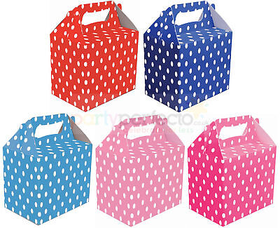 6 Polka Dot Party Boxes - Choose From 5 Colours - Food Lunch Cardboard Spotty