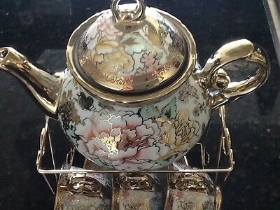 13pc Chinese Tea Sets Tea Pot & 6 Cups & Saucers with Rack Coffee cup Set Mul