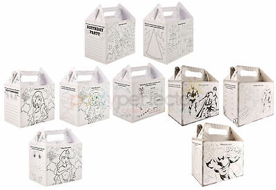 6 Colouring In Party Boxes - Choose From 3 Designs - Lunch  Gift Bag Childrens