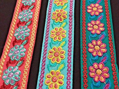 """White Embroidered Floral Trim//Lace x 1m 2.1//2/"""" 65mm"""