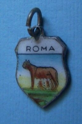 Vintage Romulus Remus Roma Rome Italy shield silver charm