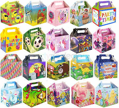 6 Party Food Boxes - Choose From 21 Designs - Lunch Meal Gift Bag Childrens