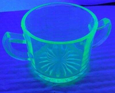 Green Vaseline Uranium Depression Glass Optic Open Sugar Bowl