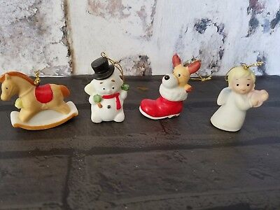 Vintage HOMCO Christmas Ornaments Set 4 Snowman Angel Rocking Horse Dog boot