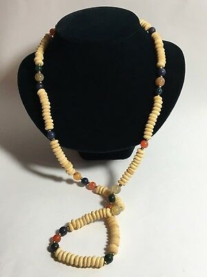 Vintage Antique Chinese Carved Gemstone Bone Bead Jade Agate Necklace 32""