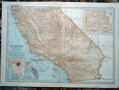 Antique Map ~ CALIFORNIA Southern Part USA UNITED STATES AMERICA ~ c1902