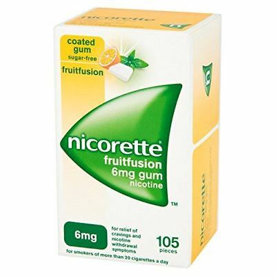 Nicorette Gum Fruit Fusion 6mg 105 Pieces - 6 Pack
