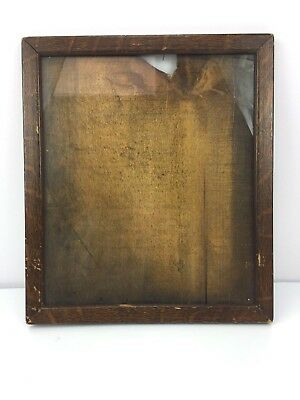 Antique 1900s Early Wooden Picture Frame Faux Tiger Oak WIDE PLANK Wood Backing
