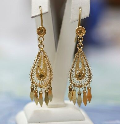 Ethnic filigree retro earrings. 18 ct gold, signed.