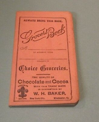 1910 Era W.H. Baker Chocolate and Cocoa Unused Grocers Book Child Spanked Cover